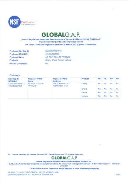 GLOBAL G.A.P. • Azienda Agricola FELLINI